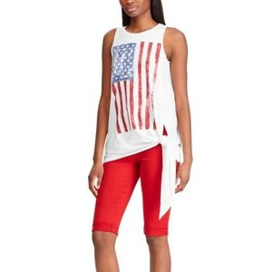 *NEW* Chaps Tie Front Tunic Top Tee American Flag